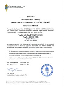 TAM authorized by Swedish Military Aviation Authority
