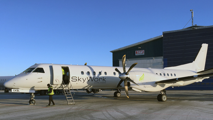TAM delivers a Saab 2000 to Sky Work Airlines
